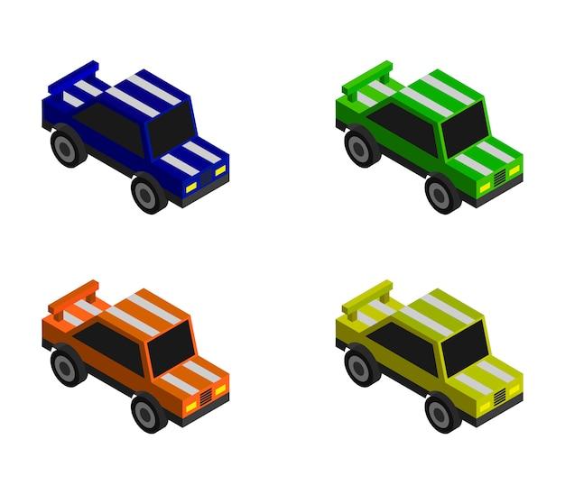 Isometrisches rennwagenset Premium Vektoren