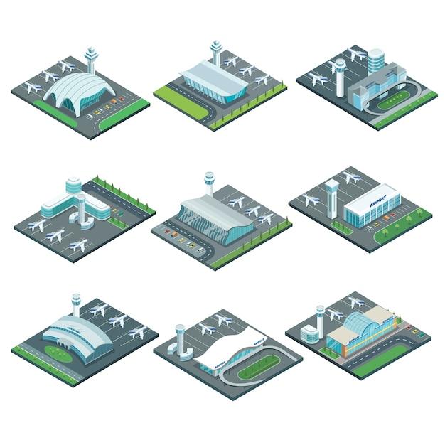 Isometrisches set der flughafenterminalarchitektur. Premium Vektoren