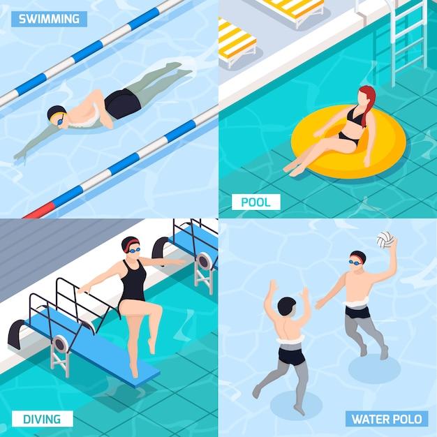 Isometrisches set des schwimmbades mit tauchen und menschen, die wasserball spielen, isolierte vektorillustration Kostenlosen Vektoren
