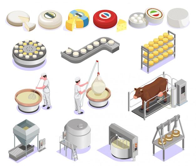Isometrisches set für die käseproduktion mit werksausrüstung und einer großen auswahl an isolierten fertigprodukten Kostenlosen Vektoren