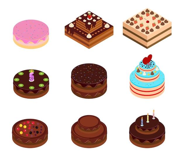 Isometrisches set für geburtstags- und schokoladenkuchen. isometrische kuchen mit dekorationen. Premium Vektoren