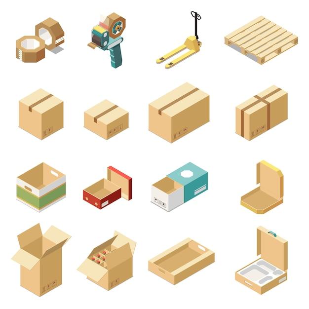 Isometrisches set mit pappkartons für verschiedene arten von waren und produkten isoliert Kostenlosen Vektoren