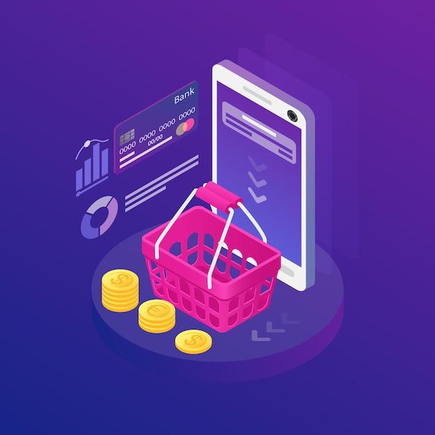 Isometrisches smartphone mit benachrichtigung auf dem bildschirm Kostenlosen Vektoren