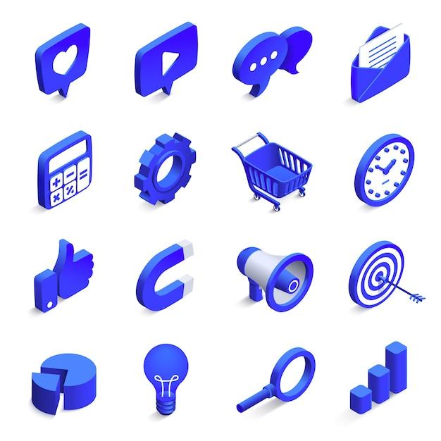 Isometrisches social marketing. inbound- und outbound-marketing, geldmagnet und ähnliche symbole. netzwerk-vektorikonen der gemeinschaft 3d eingestellt Premium Vektoren