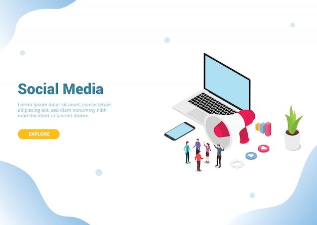 Isometrisches social media marketing für website Premium Vektoren