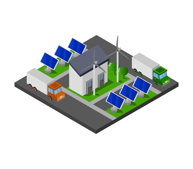 Isometrisches solarpanel Kostenlosen Vektoren