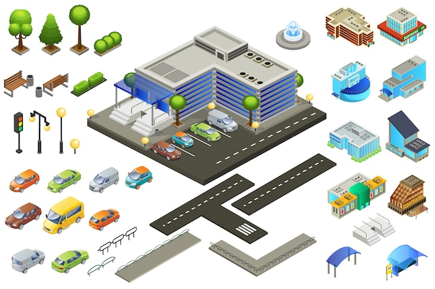 Isometrisches supermarkt-elementset Kostenlosen Vektoren