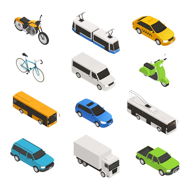 Isometrisches symbol des stadtverkehrs gesetzt mit verschiedenen isolierten taxi bus fahrrad motorrad trolley bus pickup vektor-illustration Kostenlosen Vektoren