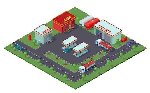 Isometrisches tankstellenkonzept Kostenlosen Vektoren