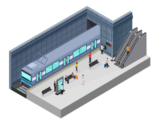 Isometrisches u-bahn-station-konzept Kostenlosen Vektoren
