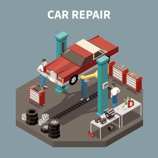 Isometrisches und lokalisiertes autoservicekonzept mit autoreparaturbeschreibungsarbeitsumgebungsillustration Kostenlosen Vektoren