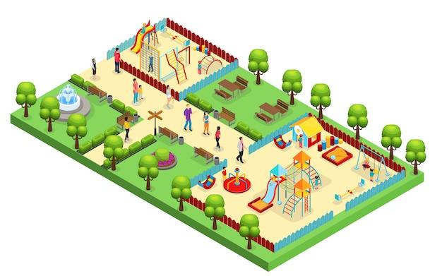 Isometrisches vergnügungsparkkonzept mit elternkindern, die spielplatz mit verschiedenen rutschen und schaukeln isoliert besuchen Kostenlosen Vektoren