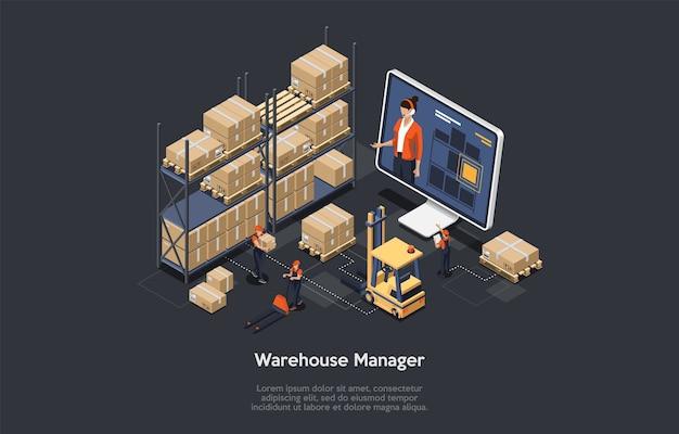 Isometrisches warehouse online manager-konzept. der prozess der zusammenstellung der online-lagerverwaltung, einschließlich be- und entladen von fracht, sortieren und lagern von lagerbeständen. vektorillustration. Premium Vektoren