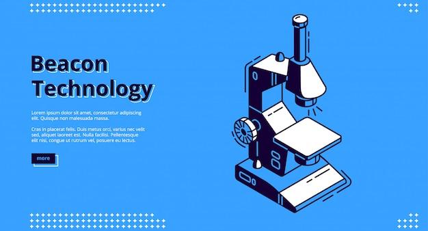 Isometrisches webdesign der beacon-technologie mit mikroskop Kostenlosen Vektoren