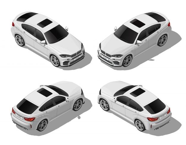 Isometrisches weißes geländewagen-set von verschiedenen seiten, modernes fahrzeug, luxus- oder sportkonzept, städtischer verkehr, lokalisiert auf weißem hintergrund Premium Vektoren