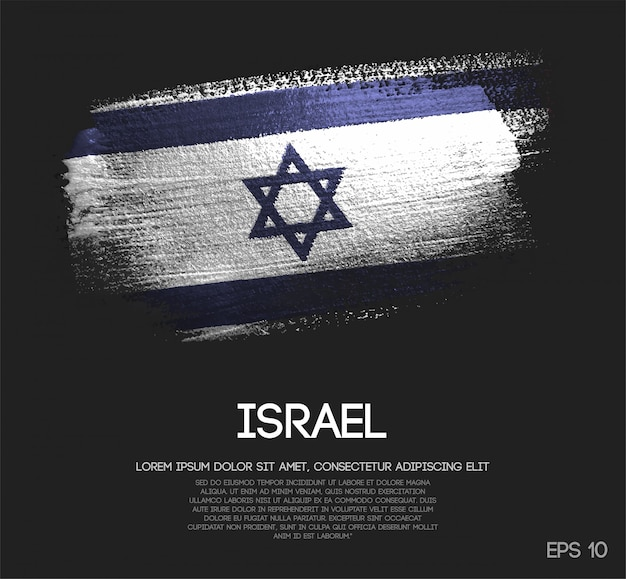 Israel flagge aus glitter sparkle pinsel farbe Premium Vektoren