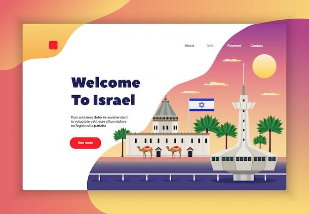 Israel-reiseseitendesign mit flacher illustration der reisezahlungssymbole Kostenlosen Vektoren