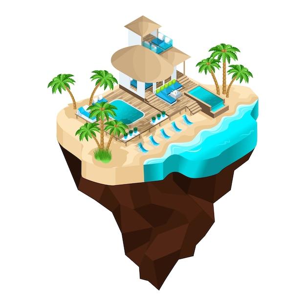 Ist ein luxusurlaub auf einer fabelhaften insel, ein wunderschöner moderner bungalow für den empfang der gäste. sommerferien auf den malediven Premium Vektoren