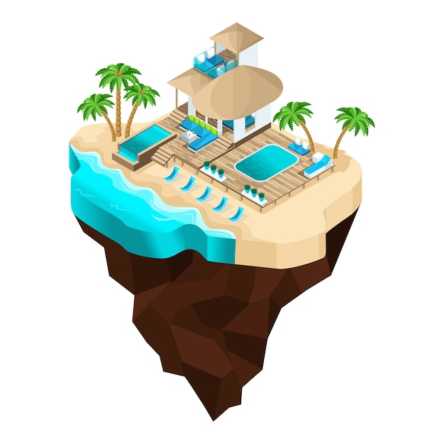 Ist eine fabelhafte insel, ein cartoon, ein luxushotel mit blick auf das meer für eine schicke erholung, palmen, sommersonne. urlaub in warmen ländern Premium Vektoren