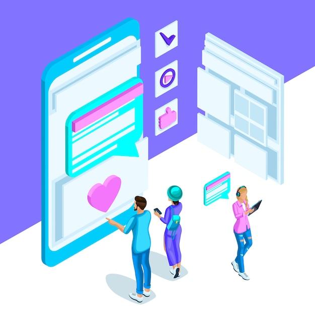 Ist eine lebendige vorlage mit einer internetkorrespondenz junger menschen, einem smartphone, einem monitor und nachrichten. helles holographisches set 2 Premium Vektoren