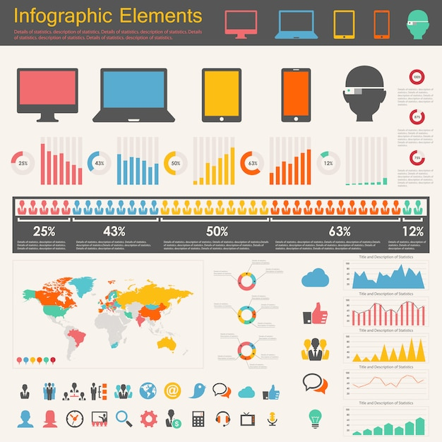 It-industrie infographik elemente Premium Vektoren