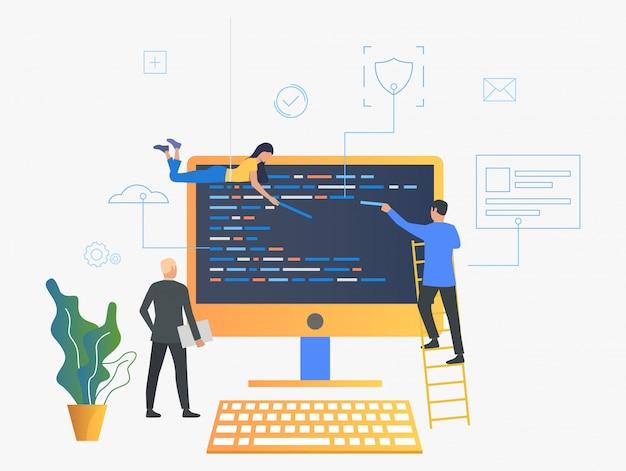 It-spezialisten, die die betriebssystemillustration aktualisieren Kostenlosen Vektoren