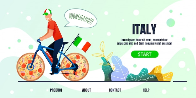 Italien-beschriftungs-landing page mit metapher-radfahrer Premium Vektoren