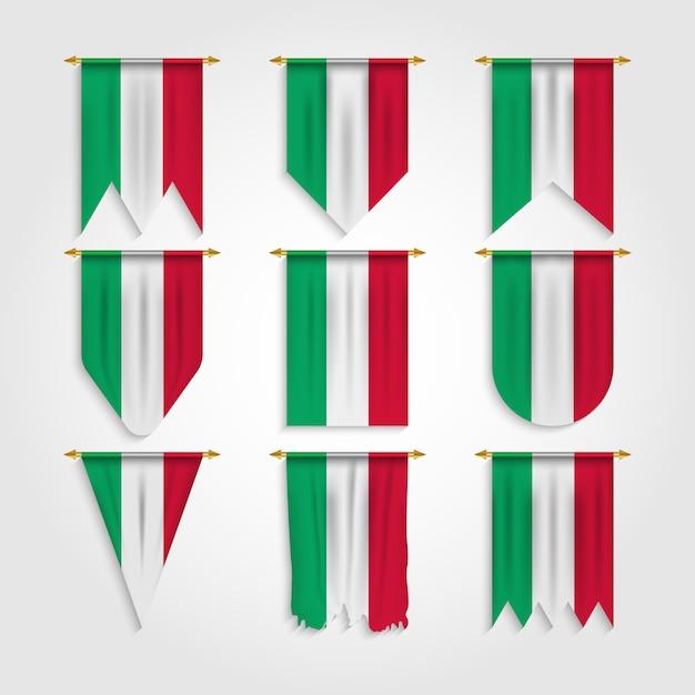 Italien flagge in verschiedenen formen Premium Vektoren