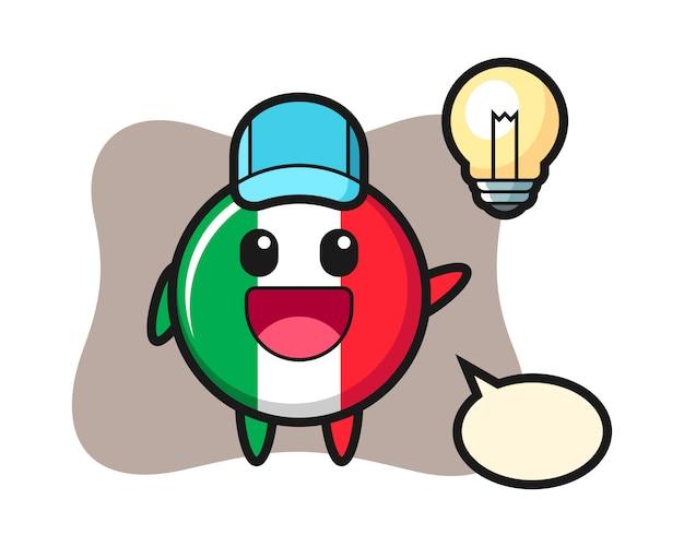 Italien flaggenabzeichen charakter cartoon bekommen die idee, niedlichen stil, aufkleber, logo-element Premium Vektoren
