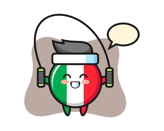 Italien-flaggenabzeichen-charakterkarikatur mit springseil, niedlichem stil, aufkleber, logoelement Premium Vektoren