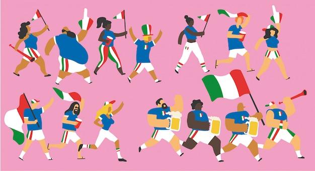 Italien-fußballfan-zeichensatz Premium Vektoren