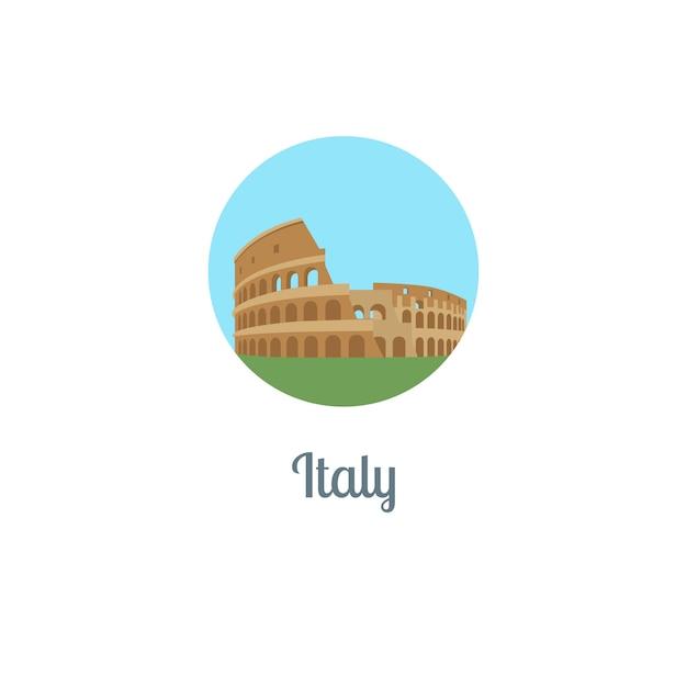 Italien wahrzeichen isoliert runde symbol Premium Vektoren