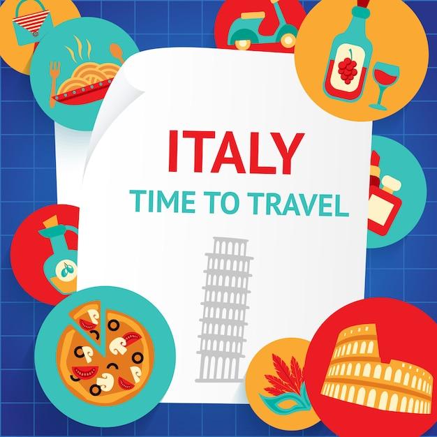 Italien zeit zu reisen Premium Vektoren