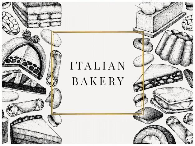 Italienische desserts, gebäck, kekse menü. mit handgezeichneter backskizzenillustration. bäckerei. vintage italienische süßigkeiten hintergrund für fast-food-lieferung, café, restaurant-menü. Premium Vektoren