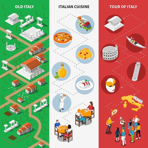 Italienische kulturelle isometrische staatsflaggenfahnen Kostenlosen Vektoren