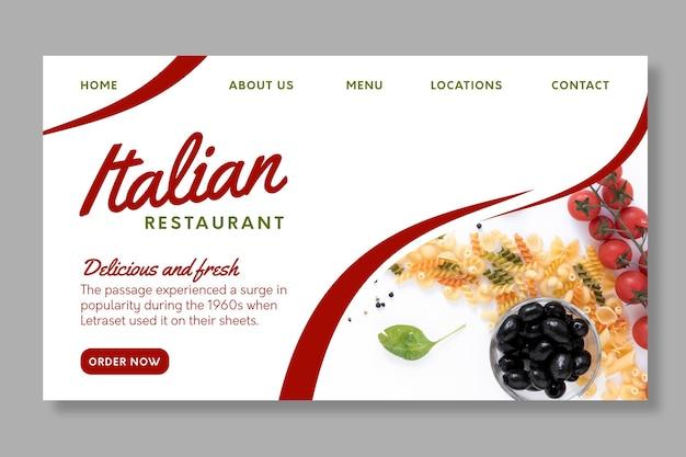 Italienische lebensmittel-landingpage-vorlage Kostenlosen Vektoren