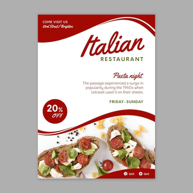 Italienische lebensmittelplakatschablone Kostenlosen Vektoren
