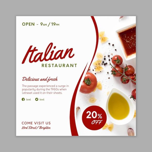 Italienische nahrungsmittelfliegerschablone Kostenlosen Vektoren
