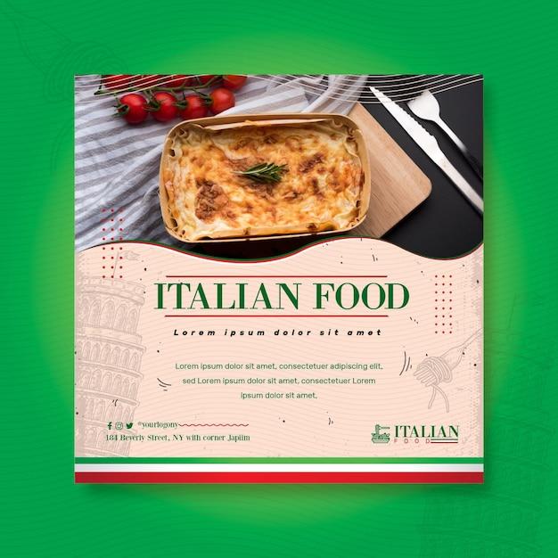 Italienische nahrungsmittelquadratflieger-druckschablone Kostenlosen Vektoren