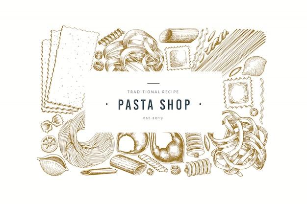 Italienische pasta-design-vorlage. hand gezeichnete vektorlebensmittelillustration. gravierter stil. Premium Vektoren