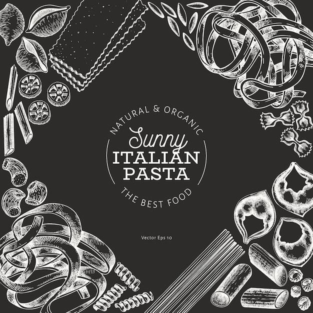Italienische pasta hintergrund Premium Vektoren