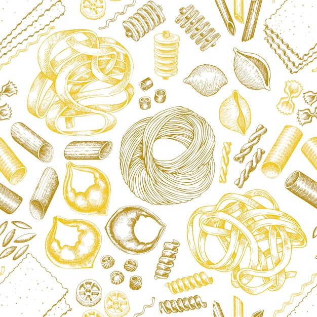 Italienische pasta nahtlose muster. Premium Vektoren