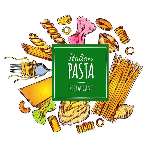 Italienische pasta restaurant illustration Kostenlosen Vektoren