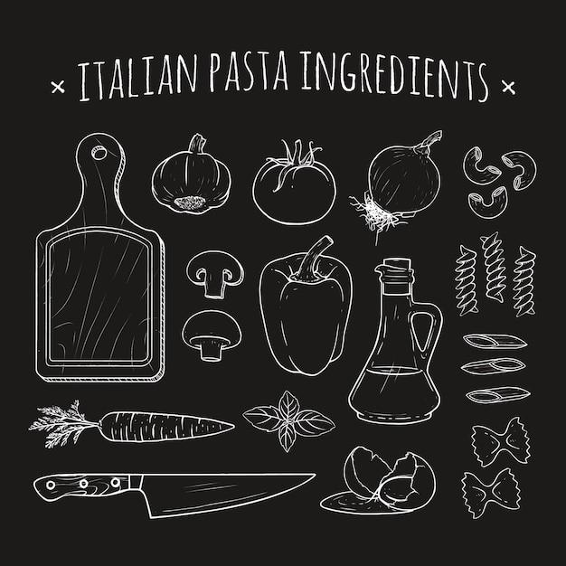 Italienische pasta zutaten Premium Vektoren