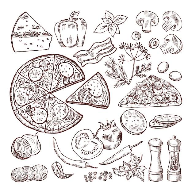 Italienische pizza mit verschiedenen zutaten. vektor gekritzel eingestellt Premium Vektoren