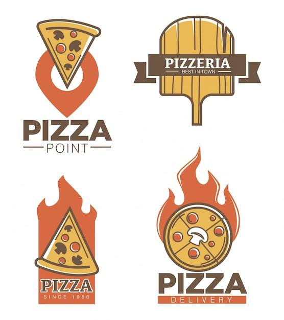 Italienische pizzeria und pizza lieferung promo embleme festgelegt Premium Vektoren