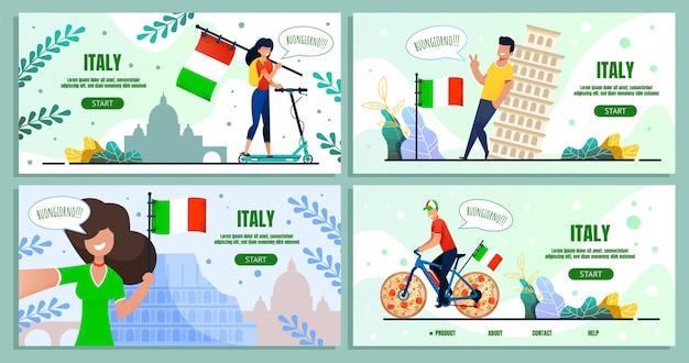 Italienische reise kulinarische reise landing page set Premium Vektoren