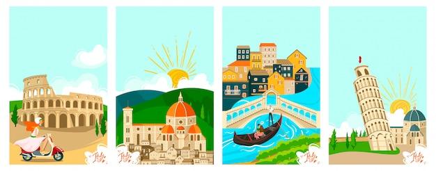 Italienische städte reisen banner gesetzt, tourismus im urlaub illustration der berühmten symbole und wahrzeichen der italienischen stadt. rom. Premium Vektoren