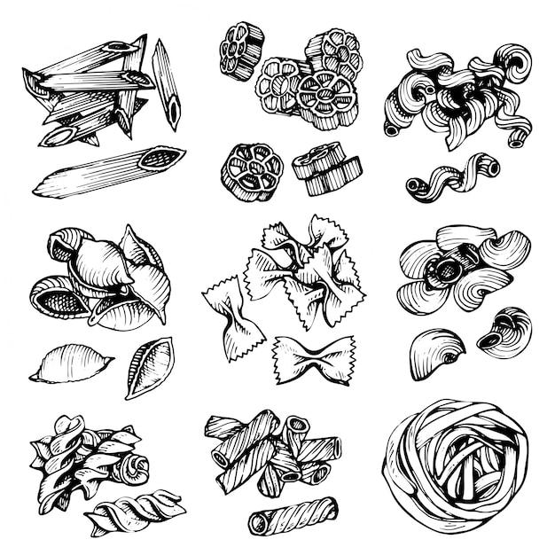 Italienische teigwarenvektorskizze. hand gezeichnete vektorillustration des makkaronis. skizzensatz nudeln. Premium Vektoren