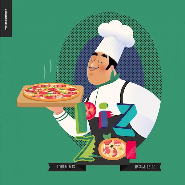 Italienischer koch Premium Vektoren